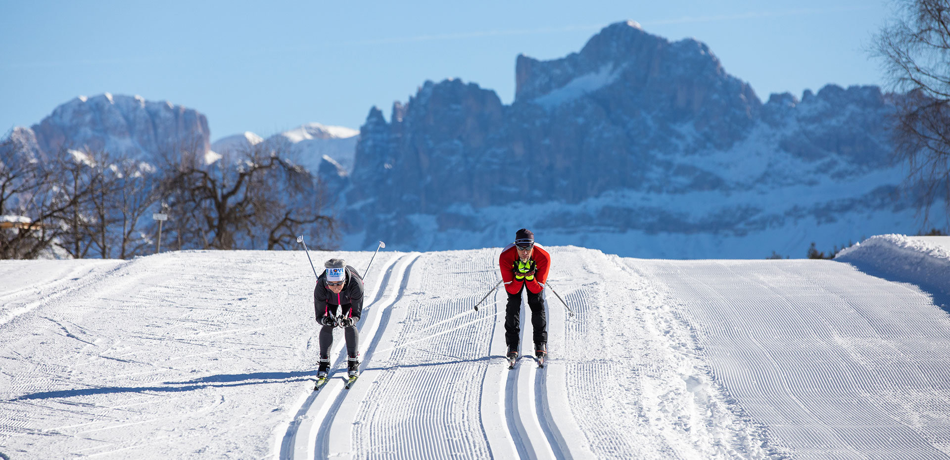 Cross-country skiing Carezza Dolomites