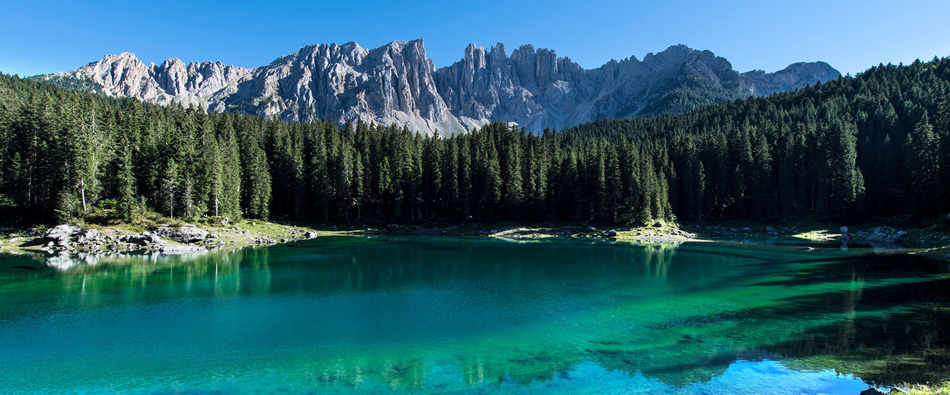 Lake Carezza beautiful in the Alps